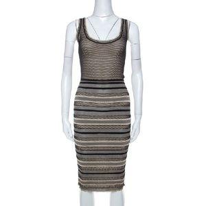 Zac Posen Striped Knit Sleeveless Midi Dress